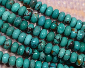 Turquoise Rondelle beads Blue Green Turquoise, Natural Turquoise Beads, Gemstone Beads