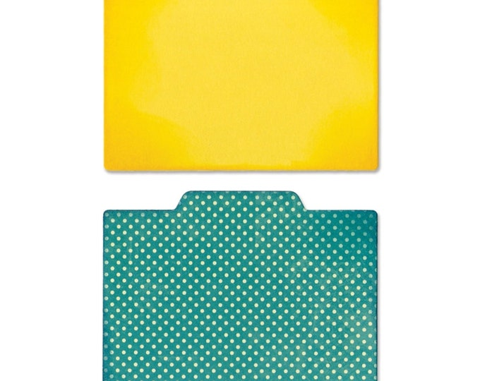 New! Sizzix Thinlits Die Set 2PK - File Dividers, Plain & Middle Tab by Jillibean Soup 660416