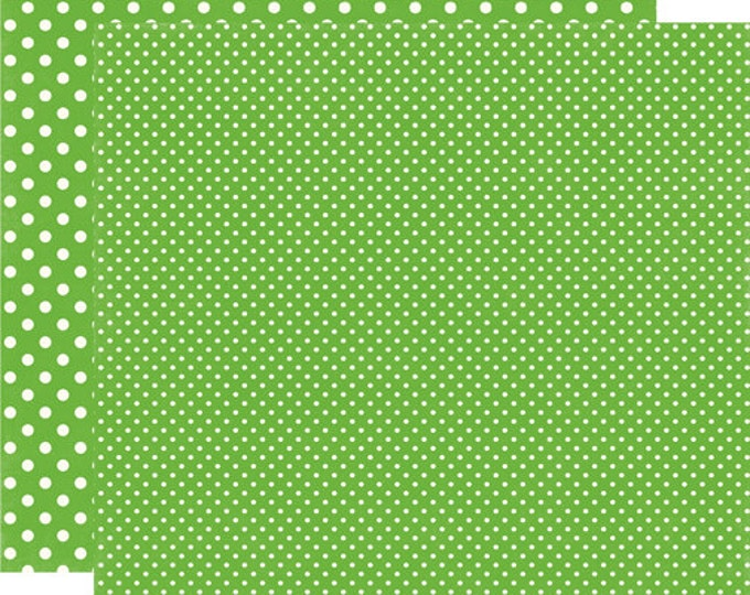 2 Sheets of Echo Park Paper DOTS & STRIPES Christmas 12x12 Scrapbook Paper - Pine (2 Sizes of Dots/No Stripes) DS15041