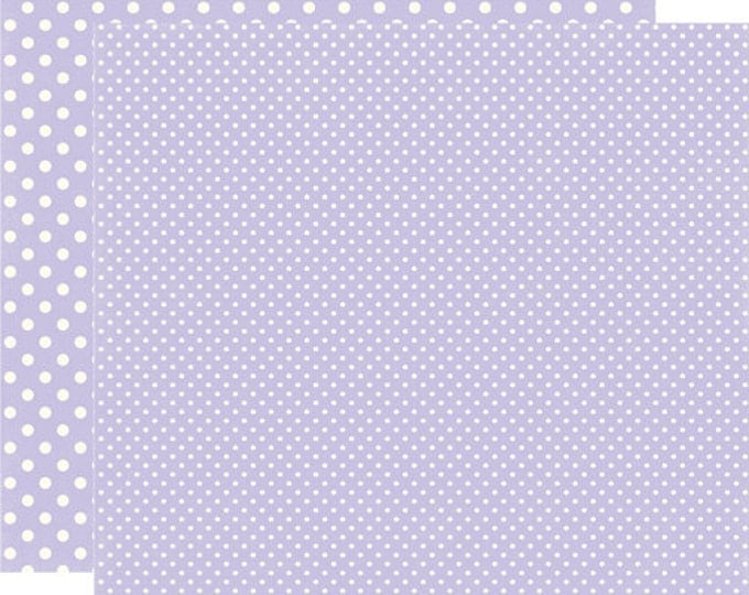 2 Sheets of Echo Park Paper DOTS & STRIPES Winter 12x12 Scrapbook Paper - Frosted Amethyst (2 Sizes of Dots/No Stripes) DS15054