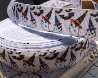"3 yards 7/8"" Halloween Ghost and Bats on White Grosgrain Ribbon"