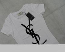 A YSL Logo Women's Yves Saint Laurent YSL T shirt Black Velvet Logo ( small)