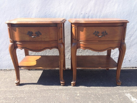 2 Vintage French Provincial Nightstands Bassett Shabby Chic