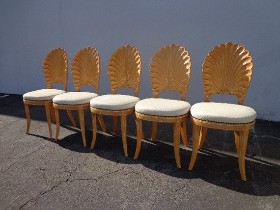 Italian carved wood chairs seashell shell clam back dining chair