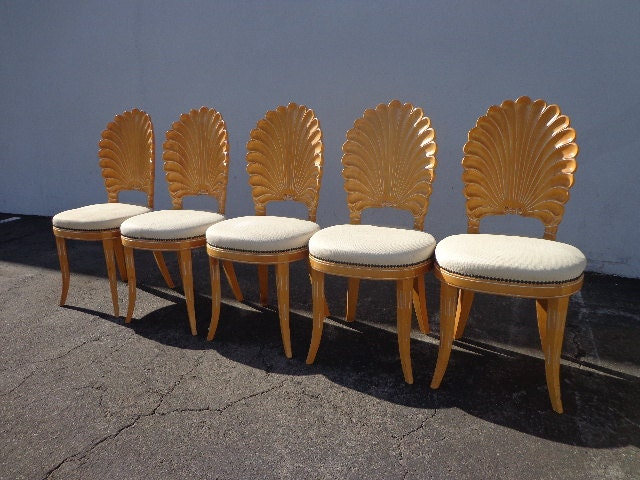 5 Italian Carved Wood Chairs Seashell Shell Clam Back Dining
