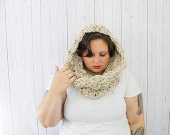 The Cecilia Cowl Scarf, Extra Chunky Crochet Hooded Cowl, Crochet Cowl, Hooded Cowl in Oatmeal, Wool Blend