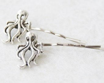 Octopus Hair Clips / Octopus Jewelry / Octopus Hair Clips / Silver Octopus Bobby Pins / Nautical Hair Pins
