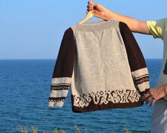 Beige Brown Wool Handknit Sweater Tweed Chocolate Handmade Pullover Handmade sweater Wool top Wool Sweater Womens Unique Sweater Cozy top