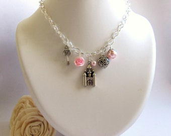 Fairytale princess pink charm necklace, polymer clay rose and Swarovski pearl necklace, pink princess jewelry, gift for teenage girl