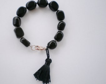 Leo zodiac black onyx tassel bracelet sterling silver