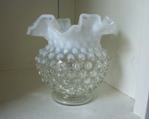 Fenton Glass Vase ~ French Opalescent Hobnail ~ Ruffled Crimped Edge