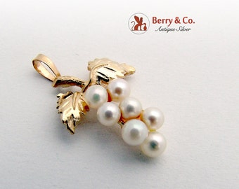 Vintage Grape Bunch Pendant 14 K Gold Cultured Pearls 1960