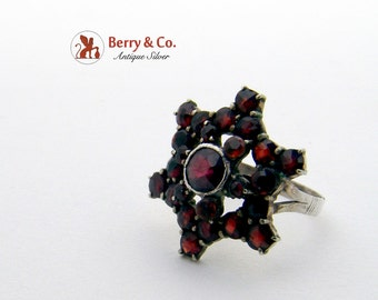 Antique Bohemian Garnet Ring Sterling Silver