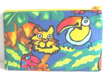 ON SALE* Rain Forest Creatures Cotton pouch // Toucan // Tiger // Snake // Pencil case // Christmas Gift// Stocking stuffer