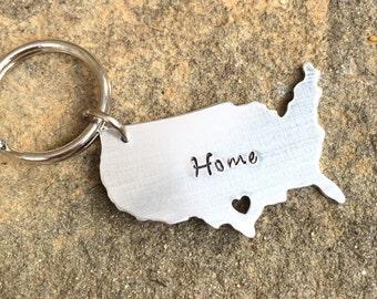CUSTOM USA Keychain Home Sweet Home - Cut Out Heart  Keychain