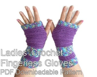 Ladies Crochet Fingerless Gloves Armwarmers Pattern PDF Download.