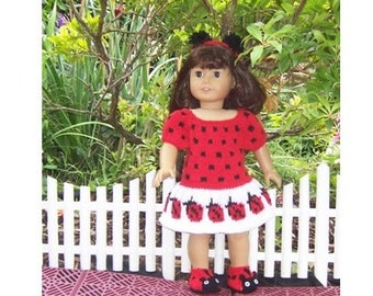 """Ladybird Outfit, PDF knitting pattern for 18"""" doll, dress, shoes,panties, headband, fits AG, Our Generration,Gotz, and similar size dolls."""