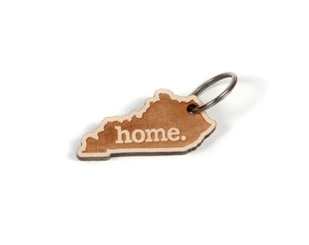 Kentucky Key Charm by Home State Apparel: Laser Engraved Wood Keychain, KY