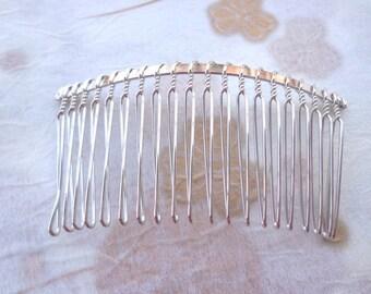 SALE--50 Pcs 36mmx75mm (20teeth) plated Silver Hair Combs