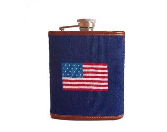 Needlepoint Flag Flask