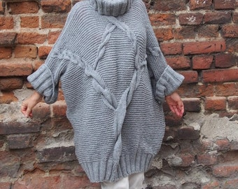 Handmade  Sweater Dolman Sleeve Sweater with Turtleneck Over sized Sweater & Nara PP016
