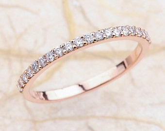 Thin Wedding Band / Thin Diamond Band / Stackable Diamond Band / Stackable Diamond Ring