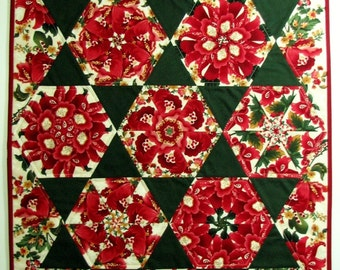 "FREE SHIPPING To Canada and USA, Christmas Floral Quilted Wall Hanging, Kaleidoscope Art Quilt, Burgundy and Dark Green Wall Quilt, 34""x21"""