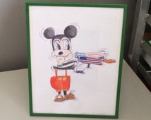 Original Mouse painted drawing framed  watercolor cartoon ballpoint pen by Eric Koester retro kitsch