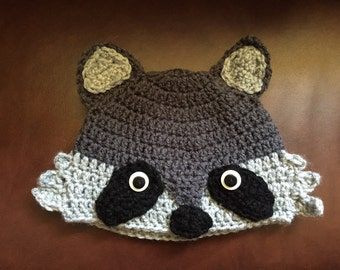 Crochet Raccoon hat (Infant-Adult Sizes)