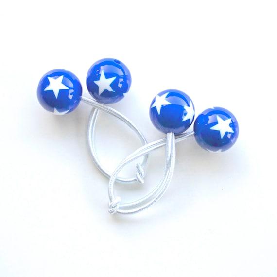 STARS. Hair ties. Elastic hair ties. Funky. Blue with white stars. Hearts. Retro style hair bobbles.