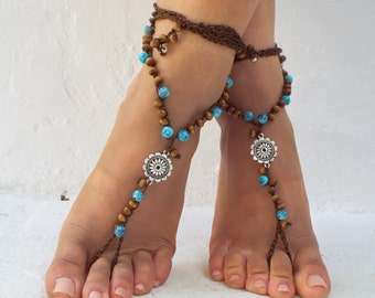 beaded, Barefoot Sandals, Barefoot Beach,  seaside  Jewelry, barefoot sandal, Hippie Sandals, Foot Jewelry, Toe Thong