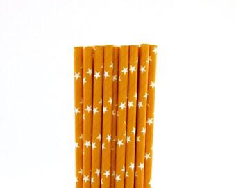 Orange with White Star Paper Straws-Orange Paper Straws-Star Straws-Witch Party Decor-Halloween Party Straws-Orange Star Straws