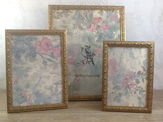 Vintage style gold picture frame 4x6 5x7 8x8 8x10 by for Small vintage style picture frames