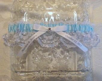 Sparkle Personalized Wedding Garter Light Blue bride and Groom Names Wedding Date Keepsake