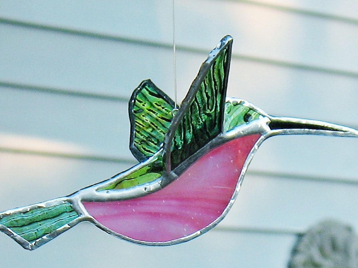 Stained glass sun catcher bird decor 3d hummingbird pink and for Hummingbird decor