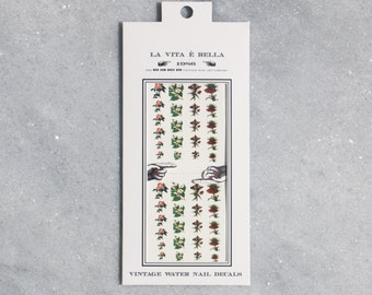 Nail Decals: Vintage Flowers Water Nail Decals