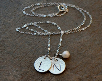 Sterling Silver or Gold Filled Two Disc Initial Necklace