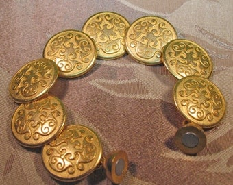 Gold Button Bracelet with Magnet Clasp