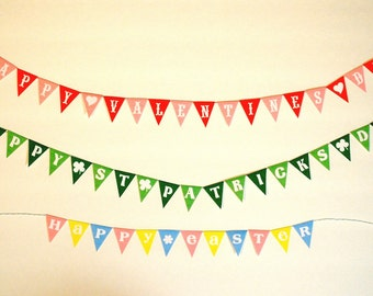 Miniature Happy Valentine's Day, St. Patrick's Day, Easter, Bon Voyage, or Mardi Gras Party Banner (1/6 or 1/12 scale) bunting pennant