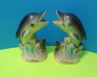 Vintage Ceramic Florida Dolphins Salt and Pepper Shakers Fish Beach Ocean Japan