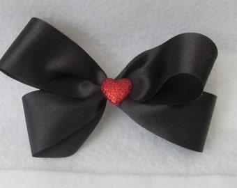 Black Satin Ribbon Hair Bow