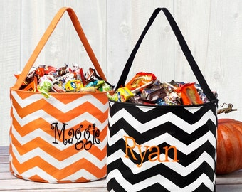 Monogrammed Halloween Bucket Personalized Trick or Treat Bag Chevron Orange Black Kids Name Basket Tote Candy Pail Embroidered Childrens
