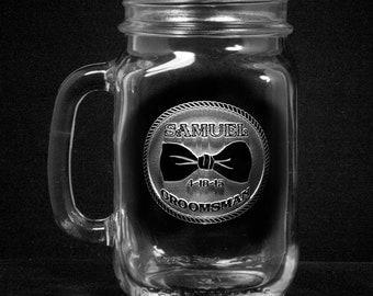 Groomsmen Gifts, Mason Jar Mugs, Country Wedding (bowmason)