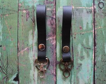 Black Leather Keychain Fob, Black Leather Key Fob, Black Key Fob, Black Keychain, Black and silver/bronze, Leather lanyard, keychains