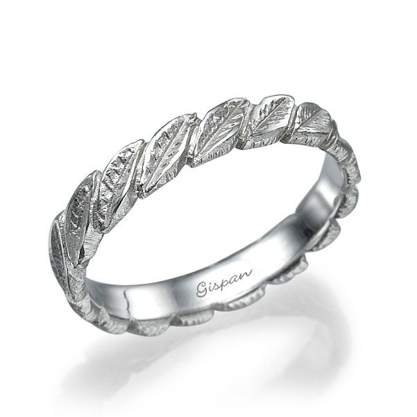 leaves wedding band 14k white gold ring leaf ring wedding