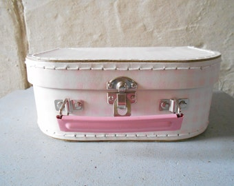 French small doll's case, haberdashery box, tiny suitcase, soft pink and grey decor, retro storage box.