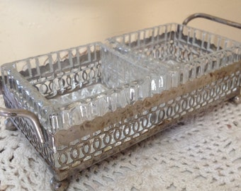 Elegant Silver Plate Dish-Heavy glass Divided Inserts- Relish or Condiment Tray