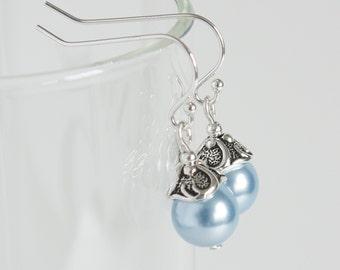 Blue Earrings, Light Blue Earrings, Women Jewelry, Glass Pearl Earrings, Sterling Silver Earwires