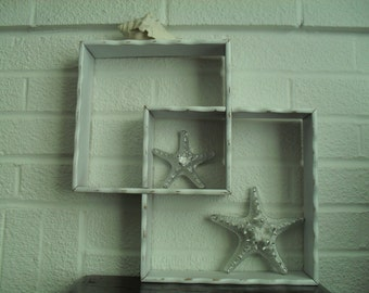 White Interlocking Wood Wall Shelves Painted Distressed Shabby Cottage Home Decor
