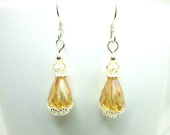 Golden crystal and silver tear drop earrings, crystal golden shadow swarovski earrings, gold teardrop earrings,